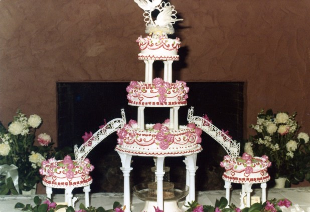 Our wedding cake. Chocolate fountain on the bottom, carrot cake on top, chocolate cake and white cake as well.