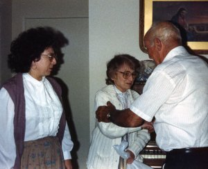 David greeting Sharon, his late wife Bebs' sister and Sharon's eldest daughter Rebecca.